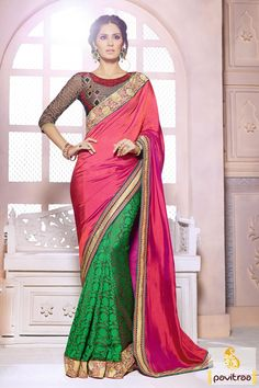 Peach blue green party wear Saree is made great with embroidered, lace patti and resham works. The fabrics used are pure georgette and art silk fabrics. #sarees #designersarees #stylishsarees #weddingsarees #onlinesarees #indiansarees #embroiderysarees #saris #partywearsarees #bridalsarees #casualsarees #silksarees