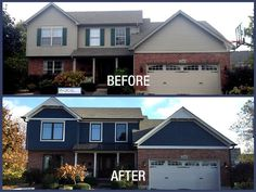 Before & After featuring James Hardie siding installed by Opal Enterprises in Deep Ocean color!