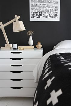 bedrooms - Ikea Alex Drawer Unit on Casters - White black paint white washed plank floor wood lamp Black white bedroom with black paint color, Black White Bedrooms, Bedroom Black, One Bedroom, Bedroom Decor, Bedroom Ideas, Bed Room, Bedroom Storage, Bedroom Designs, Travel Bedroom