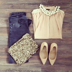 {STYLE INSPIRATION} Another great Casual Friday outfit.. and perfect for drinks after work!! Nude + Denim x