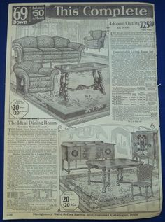 1920's furniture ad... LOL! This livingroom furniture is EXACTLY what I had pictured for our house built in 1920