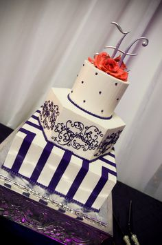 Purple and orange wedding cake Our Wedding, Dream Wedding, Reception Food, Orange Wedding, Wedding Cake Inspiration, Orange And Purple, Let Them Eat Cake, Beautiful Cakes, Wedding Cakes