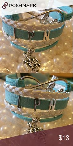 NEW LPN Bracelet multiple colors available Blue and white Red and white Pink and white Black and white Teal and white Metal Alloy Material Wax Cord Faux leather Lobster Clasp Adjustable  One size fits most COMMENT FOR COLOR AND I WILL MAKE A NEW LISTING FOR YOU Jewelry Bracelets