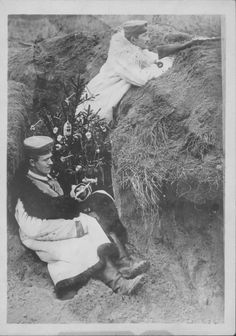 Christmas tree in the trenches during WWI