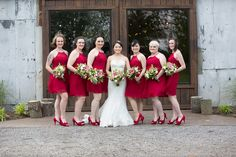 Beautiful Wedding The Grove at Williamson Place in Murfreesboro Tennessee.  We loved the red dresses and red shoes for this beautiful wedding by the Strawberry fields  #Bride #wedding #photo #dress #The Grove at Williamson Place #photographer #photography #Nashville #red #bridesmaids #dresses #shoes #day #spring