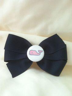 Vineyard Vines inspired(PInk Whale) Navy Grosgrain Ribbon Hair Bow