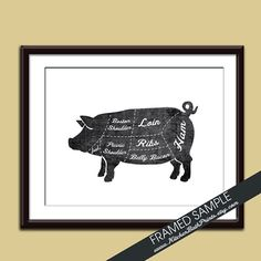 PORK Butcher Diagram Series  8x10 Art Print by KITCHENBATHPRINTS, $14.95