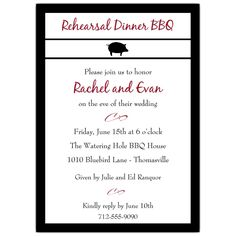 BBQ Pig Stripe Black Rehearsal Dinner Invitations