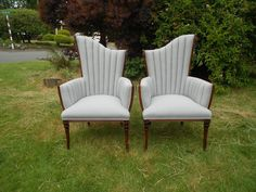 We are so excited how these pair of art deco chairs turned out after their reupholstering with this gorgeous platinum grey linen.