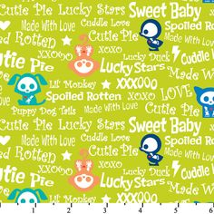 Skelanimals Baby Talk on Green by David Textiles, Fabric by the Yard by LaCreekBlue on Etsy