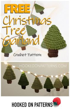 Free Crochet Christmas Tree Garland Pattern from Hooked On Patterns Create a sweet mini Christmas tree garland display or make individual trees as festive hanging decorations or gift tags Christmas Crochet FreePattern Crochet Christmas Garland, Crochet Garland, Christmas Tree Garland, Christmas Tree Pattern, Crochet Ornaments, Crochet Decoration, Mini Christmas Tree, Christmas Knitting, Christmas Fairy