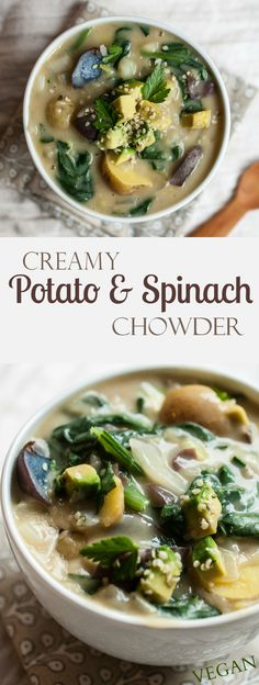 Produce On Parade - Creamy Vegan Potato & Spinach Chowder (gf ap flour)