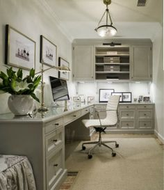 Combine this office furniture with the bulletin board wainscoting and voila!  My perfect office space! Made in heaven