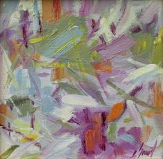 Green & Magenta Abstract by libby smart Oil ~ 8 x 8