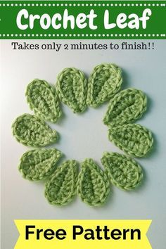 crochet applique Crochet Leaf Pattern 2 Minute Leaf Free Pattern Crochet Motifs And Appliques. Crochet Leaf Pattern Lakeview Cottage Kids One Green Leaf Free Crochet Leaf. Crochet Simple, Love Crochet, Beautiful Crochet, Knit Crochet, Bolero Crochet, Crochet Leaf Patterns, Crochet Leaves, Crochet Motifs, Crochet Appliques