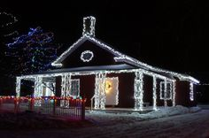 Ideas to hide burned out LED Christmas lights. [photo of Physician's House at Upper Canada Village in Ontario, Canada. Outdoor Led Christmas Lights, Noma Christmas Lights, Christmas Light Displays, Decorating With Christmas Lights, Christmas Decorations, Christmas Service, Family Christmas, Christmas 2015, White Lead