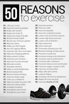 50 reasons to exercise - fitness workout motivation! Some great reasons to get out and get busy! - Try out today enjoy health fitness Via Montag Motivation, Gewichtsverlust Motivation, Weight Loss Motivation, Motivation Inspiration, Skinny Motivation, Motivation To Work Out, Workout Motivation Pictures, Exercise Motivation Quotes, Workout Inspiration