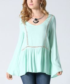 Look at this 42POPS Mint Flyaway Bell-Sleeve Tunic on #zulily today!