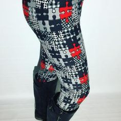 Women Puzzle Piece Print Leggings | High Waisted Work Yoga Fitness Gym – MomMe and More Plus Size Leggings, Best Leggings, Dresses With Leggings, Women's Leggings, Mommy And Me Outfits, Cute Outfits, Black And White Leggings, Buttery Soft Leggings, Printed Leggings