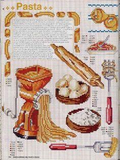 pasta cross stitch 1 of 2 Diy Embroidery, Cross Stitch Embroidery, Embroidery Patterns, Cross Stitch Designs, Cross Stitch Patterns, Cross Stitch Boards, Cross Stitch Kitchen, Decoupage Vintage, Beatrix Potter