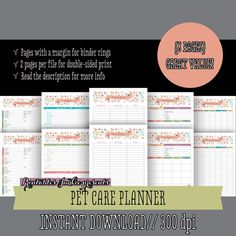 Pet care printable planner - Pet grooming log - Pet sitter info - Pet vaccinations record - 8 Sheets pdf, instant download