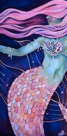 "Mermaid Sirène by Charity Daw acrylic on canvas ""In daily life… Mermaid Fairy, Mermaid Tale, Real Mermaids, Mermaids And Mermen, Fantasy Mermaids, Mythical Creatures, Sea Creatures, Cosplay Steampunk, Merfolk"