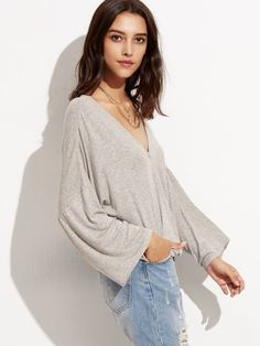 Heather Grey Drop Shoulder Surplice Drape T-shirt