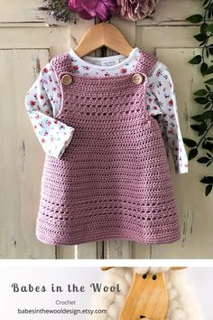 Crochet Pattern Baby Dress / Pinafore - newborn to 24 months Crochet Toddler Dress, Crochet Baby Dress Pattern, Baby Dress Patterns, Baby Girl Crochet, Crochet Baby Clothes, Baby Knitting Patterns, Crochet For Kids, Crochet Patterns, Pinafore Dress Pattern