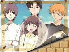 Fruits Basket, Yuki, Shigure, Tohru, and Kyo