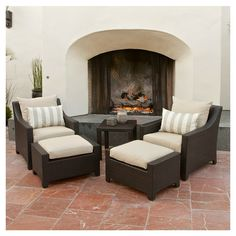 5 Piece Cabo Outdoor Seating Set in Light Grey