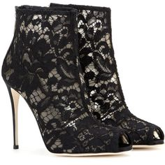 Dolce & Gabbana Lace Peep-Toe Ankle Boots ($1,055) ❤ liked on Polyvore featuring shoes, boots, ankle booties, black, black bootie, lace peep toe booties, lace ankle boots, black peep toe bootie and peeptoe booties