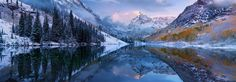 Sunrise at Maroon Bells after the first snow. By Cheyne Walls