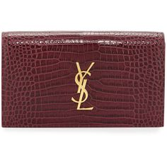 Saint Laurent Kate Monogram Small Leather Clutch Bag ($1,365) ❤ liked on Polyvore featuring bags, handbags, clutches, rose, monogrammed leather purse, red clutches, yves saint laurent handbags, leather flap purse and red handbags