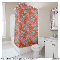 Shop Palm leaf and coleus tropical fire shower curtain created by Butterflybeestro. Tropical Shower Curtains, Tropical Bathroom, Custom Shower Curtains, Flower Shower Curtain, Hand Drawn Flowers, Tropical Design, Fire And Ice, Bathroom Sets, Coral Pink