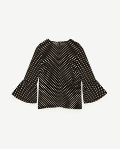 Image 8 of FRILLED SLEEVE POLKA DOT TOP from Zara