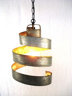 Third:  Kitchen Lighting Idea for over the Island.   SO DIFFERENT. could be cool above a kitchen island in a set of 3. Custom Made Wine Barrel Ring Hanging Pendant Light - Large Open -100% RECYCLED from Napa Wine Barrels by Wine Country Craftsman