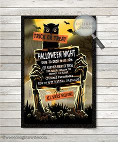 Zombie Graveyard Adult Halloween Party Invitations [DI-10414] : Custom Invitations and Announcements for all Occasions, by Delight Invite