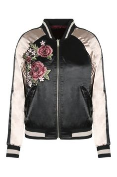 Black & Golden Satin Bomber Jacket TALLY WEiJL