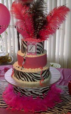 Zebra / hot pink birthday cake....... Emme's 1st birthday. Sugar sheets - DIY
