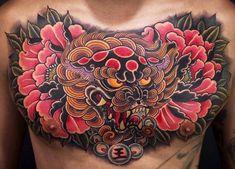 Fantastic Foo Dog Tattoo Ideas– A Creature Rich In Symbolic Meaning Skull Rose Tattoos, Dog Tattoos, Asian Tattoos, Tattoos For Guys, Chest Tattoo Japanese, Japanese Sleeve Tattoos, Full Chest Tattoos, Chest Piece Tattoos, Pez Koi Tattoo