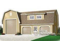 Dessins Drummond plan no. W3985, grand garage triple de style champêtre avec espace pour véhicule récréatif ansi que 751pi2 de rangement boni !