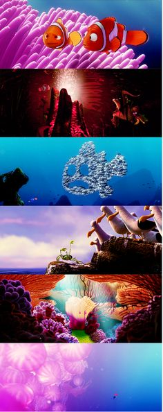 Day 15 - fav location - I think the colorful vibrant 'location' of Finding Nemo is absolutely gorgeous. Watching it always makes me want to learn to scuba! Disney Pixar, Old Disney, Disney Love, Disney Magic, Disney Parks, Walt Disney World, Murals For Kids, Beautiful Posters, Pixar Movies