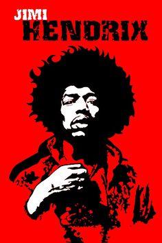 Jimi Hendrix, concert poster art, pop art, illustration, graphic design.
