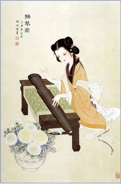 by Yang ShuTao 杨淑涛工笔仕女画, Traditional Chinese Painting, Lady Painting brushpainting ink and wash painting fineline