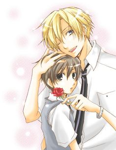 Haruhi and Tamaki-oh my gersh he loves her soooo much it makes me laugh!