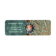 elegant teal western country tooled leather label - makeup artist gifts style stylish unique custom stylist