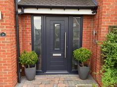 Solid & secure, from traditional or modern composite front doors that offer amazing value for money. 'Stable doors' 'double doors' See them at our showroom. Cottage Front Doors, Porch Doors, House Front Door, House Doors, Best Front Doors, Grey Front Doors, Front Doors With Windows, Front Door Canopy, Porch Canopy