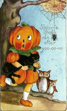 vintage halloween postcards | Retro Halloween Postcards | Little Owl Ski