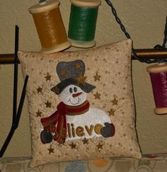 Embroidered BELIEVE SNOWMEN Quilted  Mini Shelf by pdqdesigns, $14.41