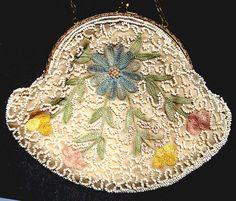 vintage beaded purse 1920's / 30's Embroidered Art Deco